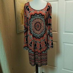 Tacera, 3X, coral/blu/wht patterned dress.